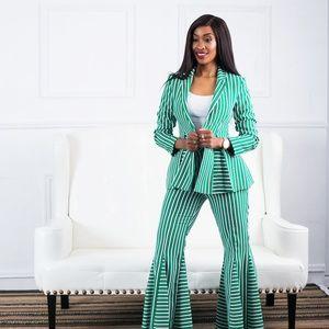 Topshop Striped Suit Jacket